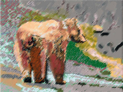 081914 Pastel Painting Grizzly Bear Art Print