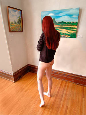 Photograph - 0820 Young Red Hair Woman In Art Gallery With No Pants by Chris Maher