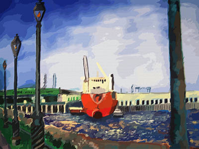 082014new Orleans Wharf Art Print