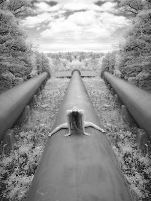 Photograph - 0925 Riding The Power A Industrial Infrared Nude  by Chris Maher