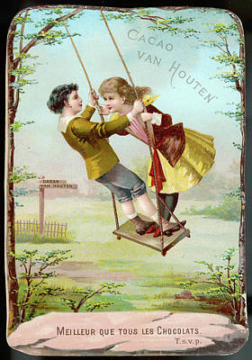 A Boy And A Girl Swing  Together Art Print by Mary Evans Picture Library