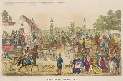 Hyde Park Drawing -  A Very Busy Scene At Hyde Park  Corner by Mary Evans Picture Library