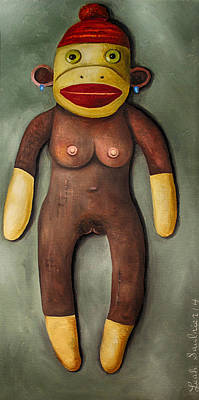 Sock Monkey Painting -  Anatomically Correct Female Sock Monkey by Leah Saulnier The Painting Maniac