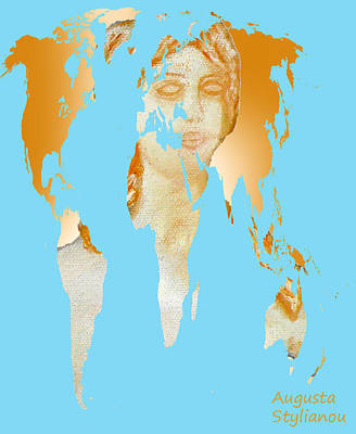 Aphrodite And World Map  Art Print by Augusta Stylianou