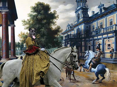 Cattle Dog Painting -  Cao Fila De Sao Miguel - Azores Cattle Dog Art Canvas Print by Sandra Sij