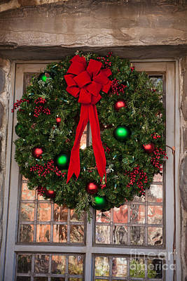 With Red Photograph -  Christmas Wreath by Iris Richardson