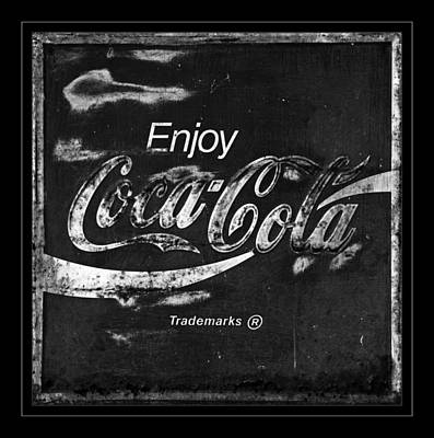 Coca-cola Signs Photograph -  Coca Cola Sign Black And White by John Stephens