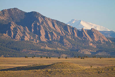 Photograph -  Colorado Rocky Mountains Flatirons With Snow Covered Twin Peaks by James BO Insogna