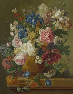 Flowers In A Vase Art Print by Paulus Theodorus van Brussel