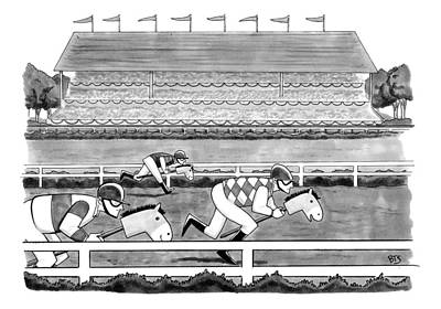 Horse Drawing -  Men Race On Toy Horses by Benjamin Schwartz