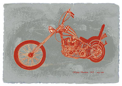 Motorcycle Art Sketch Poster Art Print by Kim Wang