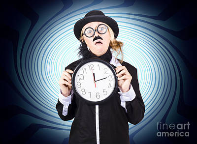 Nutty Professor With Clock. Crazy Science Time Art Print