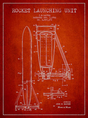 Space Exploration Drawing -  Rocket Launching Unit Patent From 1961 by Aged Pixel