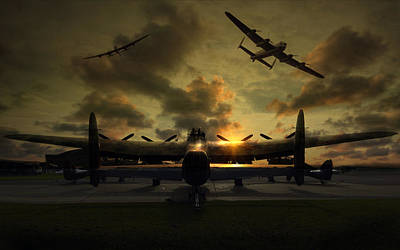 Canadian Heritage Photograph -  Sunset Lancaster Bombers by Jason Green
