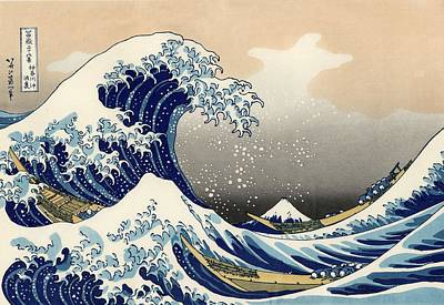 The Great Wave Off Painting - The Great Wave Off Kanagawa by Katsushika Hokusai