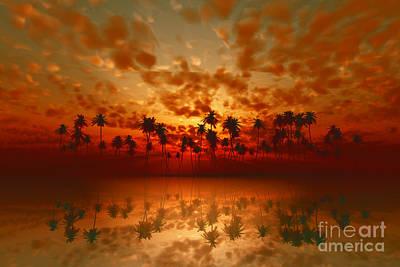 Coconuts Digital Art -  Tropical Sunset  by Aleksey Tugolukov
