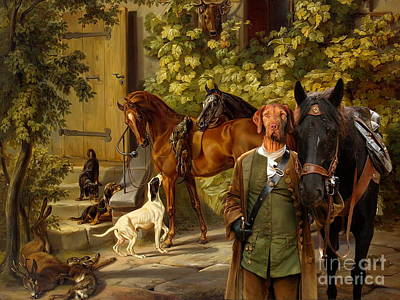 Painting -  Wirehaired Vizsla - Hungarian Vizsla Art Canvas Print by Sandra Sij