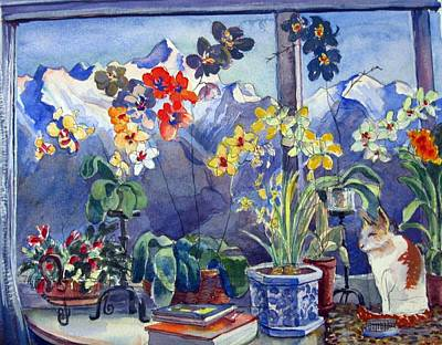 Painting - 01. Window Flowers by Les Melton