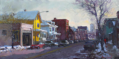 Winter Landscape Painting - 149 Elmwood Ave Savoy by Ylli Haruni