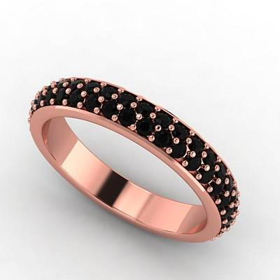Cubic Zirconia Jewelry - 14k Rose Gold Black Diamond Eternity Band by Eternity Collection