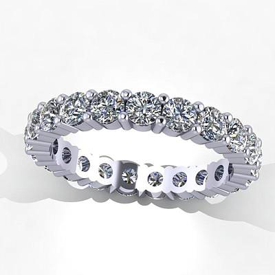 Cubic Zirconia Jewelry - 14k White Gold Diamond Eternity Band by Eternity Collection