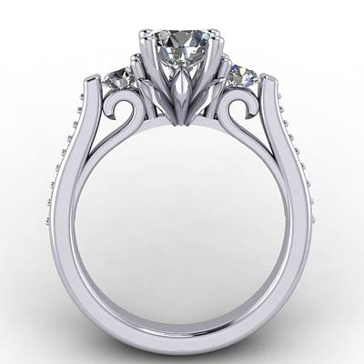 18k Photograph - 14k White Gold Diamond Ring With White Sapphire Center Stone by Eternity Collection
