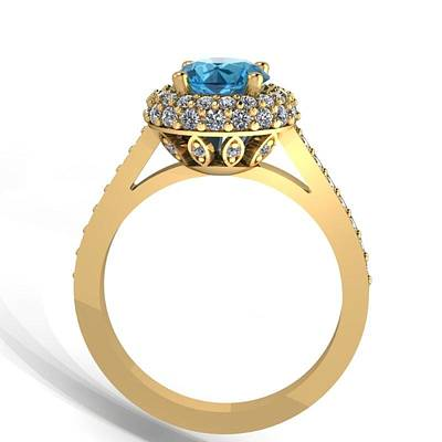 18k Jewelry - 14k Yellow Gold Diamond Ring With Blue Topaz Center Stone by Eternity Collection