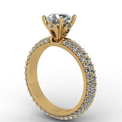 Morganite Jewelry - 14k Yellow Gold Diamond Ring With Moissanite Center Stone by Eternity Collection