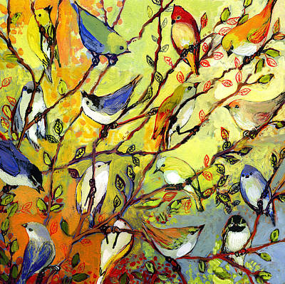 Branch Wall Art - Painting - 16 Birds by Jennifer Lommers