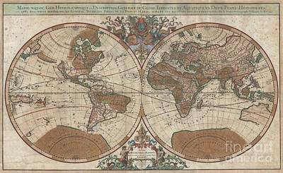 1691 Sanson Map Of The World On Hemisphere Projection Art Print by Paul Fearn