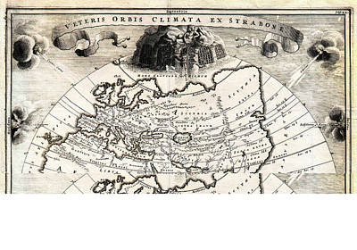 1700 Cellarius Map Of Asia Europe And Africa According To Strabo Geographicus Orbisclimata Cellarius Art Print