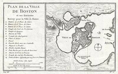 1756 Bellin Map Of Boston Massachusetts Art Print by Paul Fearn