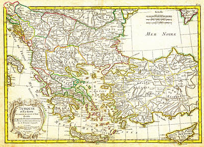 Balkan Painting - 1771 Janvier Map Of Greece Turkey Macedonia Andamp The Balkans Geographicus Turqeurope Janvier 1771 by MotionAge Designs