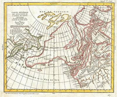 1772 Vaugondy  Diderot Map Of Alaska The Pacific Northwest And The Northwest Passage Art Print by Paul Fearn