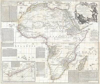 Old Jewish Area Photograph - 1794 Boulton And Anville Wall Map Of Africa by Paul Fearn