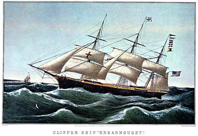 Dreadnought Painting - 1850s Clipper Ship Dreadnought by Vintage Images
