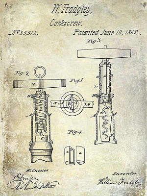 Winery Photograph - 1862 Corkscrew Patent Drawing by Jon Neidert
