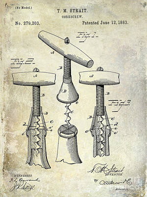 Wine Corks Photograph - 1883 Corkscrew Patent Drawing by Jon Neidert