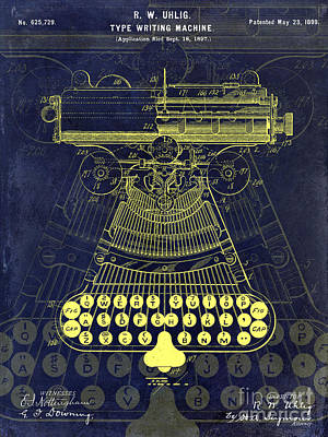 1899 Photograph - 1899 Type Writer Patent Drawing Blue by Jon Neidert