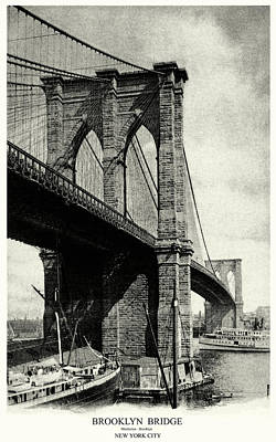 Painting - 1900 Brooklyn Bridge  by Historic Image