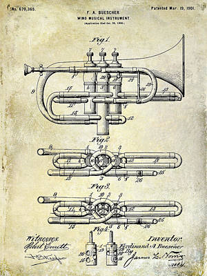 Wind Instrument Photograph - 1901 Wind Musical Instrument Patent Drawing  by Jon Neidert