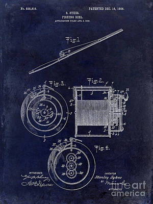 Smallmouth Bass Photograph - 1906 Fishing Reel Patent by Jon Neidert