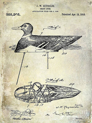1910 Duck Decoy Patent Drawing Art Print by Jon Neidert