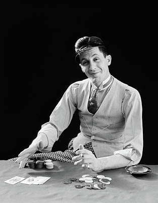 1910s Photograph - 1910s 1920s Character Man Gambler Card by Vintage Images