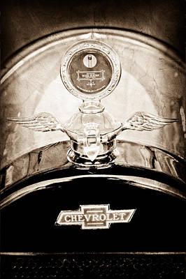 1915 Chevrolet Touring Hood Ornament - Moto Meter Art Print by Jill Reger