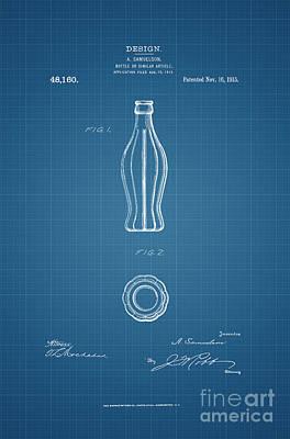American Food Digital Art - 1915 Coca Cola Bottle Design Patent Art 3 by Nishanth Gopinathan