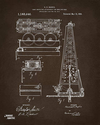 Drawing - 1916 Oil Drilling Rig Patent Artwork - Blueprint by Nikki Marie Smith