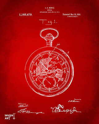 On Paper Digital Art - 1916 Pocket Watch Patent Red by Nikki Marie Smith