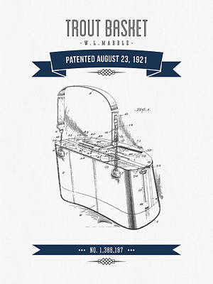 1921 Trout Basket Patent Drawing - Navy Blue Art Print by Aged Pixel