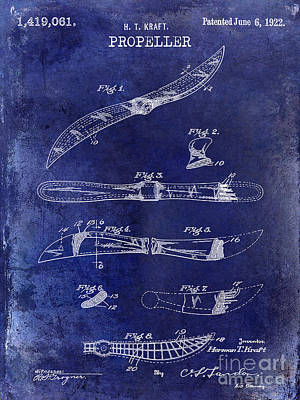 1922 Propeller Patent Drawing Art Print by Jon Neidert